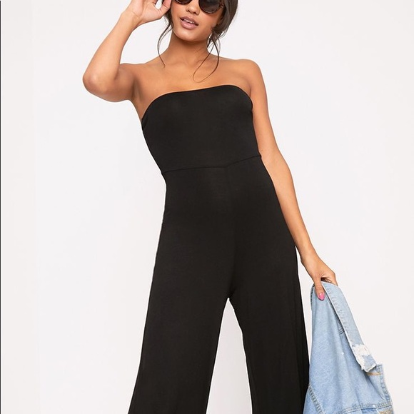 32b7043b7d9d Pretty Little Thing Black Culotte Bandeau Jumpsuit